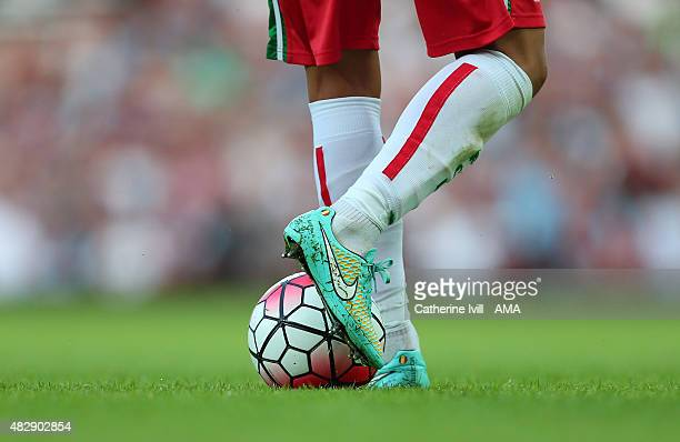 A player wearing Nike boots next to a Nike ball during the UEFA Europa League Qualifier between West Ham United and FC Lusitans at the Boleyn Ground...