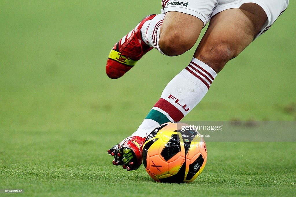 A player wears Adidas boots during the match between Fluminense and Coritiba for the Brazilian Series A 2013 at Maracana on September 21, 2013 in Rio de Janeiro, Brazil.
