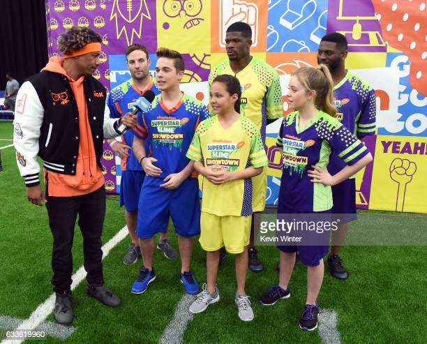 NFL player Wes Welker Andre Johnson and LaDainian Tomlinson and host Nick Cannon and actors Ricardo Hurtado Breanna Yde and Jade Pettyjohn at the...