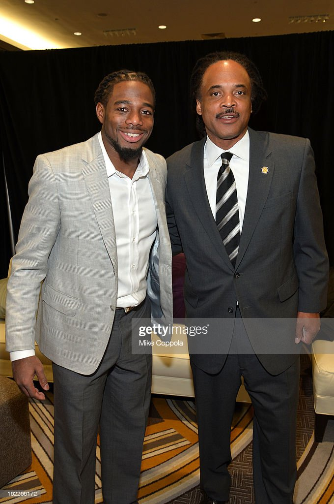 NFL player William Gay and Neil Irvin, Executive Director, Men Can Stop Rape attend the A Day To Connect, Inspire And Heal Summit on February 21, 2013 in New York City.