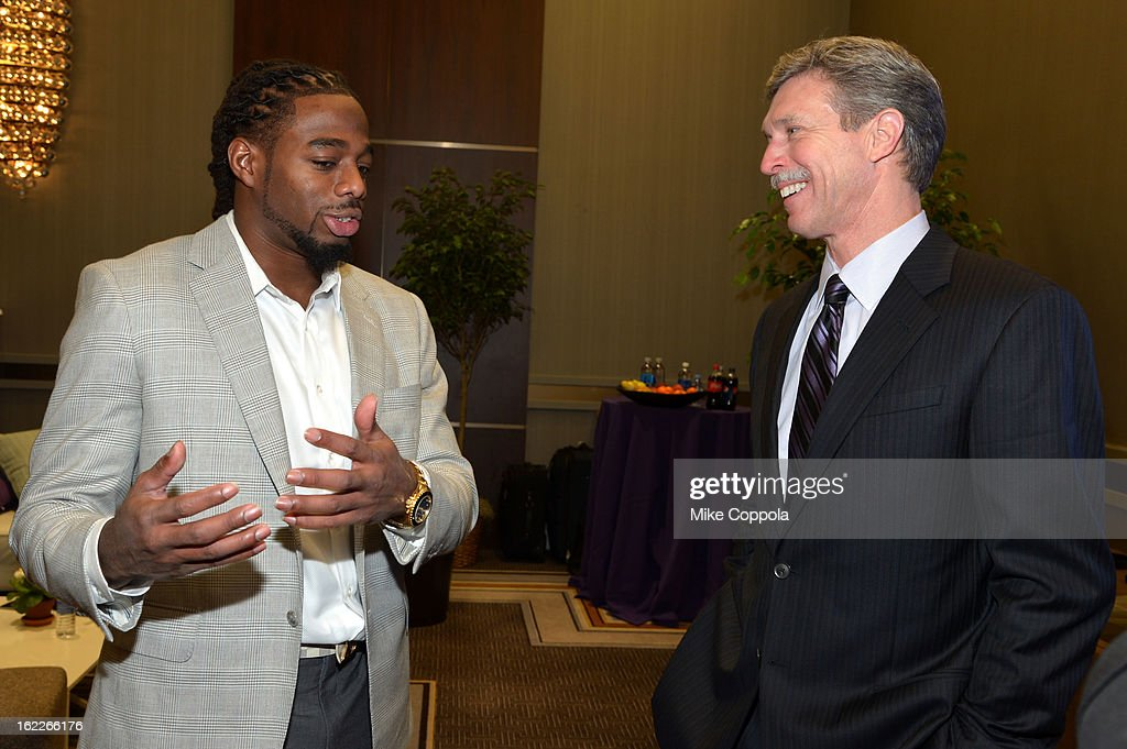NFL player William Gay and President and CEO, Verizon Wireless, Dan Mead attend the A Day To Connect, Inspire And Heal Summit on February 21, 2013 in New York City.