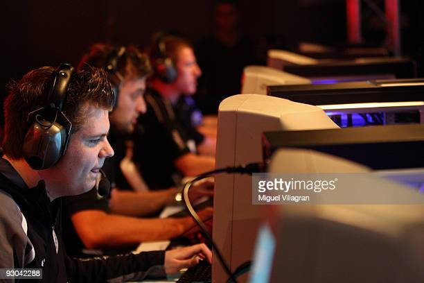 A player with the nickname 'beist' concentrates as he plays Counter Strike during the 'Intel Friday Night Game' organized by the Electronic Sports...