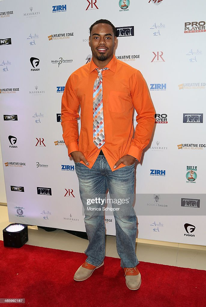 NFL player with the Oakland Raiders, <a gi-track='captionPersonalityLinkClicked' href=/galleries/search?phrase=Rashad+Jennings&family=editorial&specificpeople=2250821 ng-click='$event.stopPropagation()'>Rashad Jennings</a>, attends the 7th Annual Music Meets Fashion Event on January 30, 2014 in New York City.