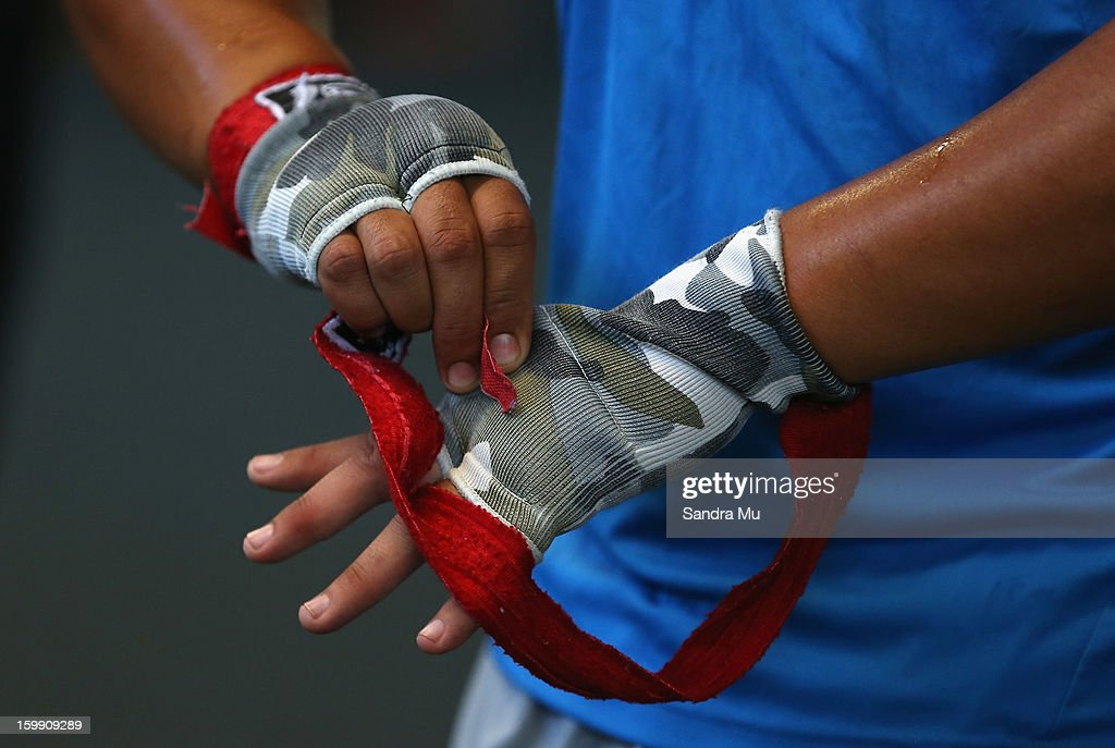 A player wraps his hands during a Blues training session with Shane Cameron at Shane Cameron Fitness on January 23, 2013 in Auckland, New Zealand.