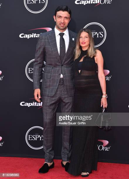 NBA player Zaza Pachulia and Tika Pachulia arrive at the 2017 ESPYS at Microsoft Theater on July 12 2017 in Los Angeles California