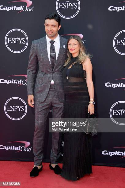 NBA player Zaza Pachulia and Tika Pachulia attend The 2017 ESPYS at Microsoft Theater on July 12 2017 in Los Angeles California