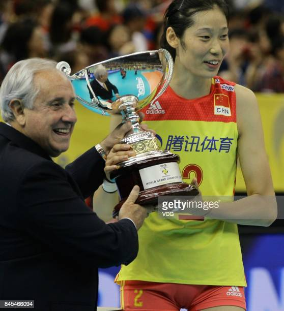 Player Zhu Ting of the Chinese national women's volleyball team poses with her trophy during the award ceremony of the 2017 FIVB Volleyball Women's...