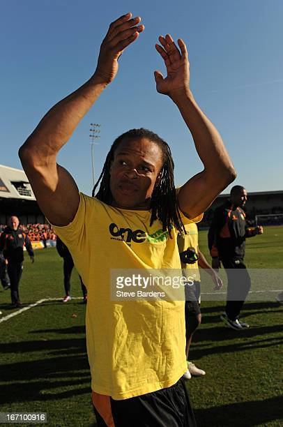 Playermanager Edgar Davids celebrates with the Barnet fans after the npower League Two match between Barnet and Wycombe Wanderers at Underhill...