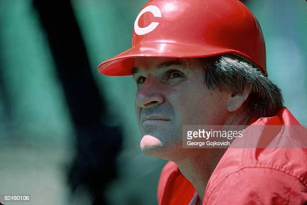 Player/manager Pete Rose of the Cincinnati Reds watches batting practice prior to a game against the Pittsburgh Pirates at Three Rivers Stadium in...