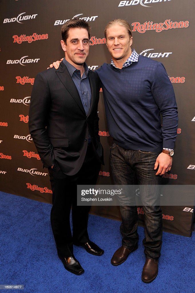NFL players Aaron Rodgers (L) and Clay Matthews (R) of the Green Bay Packers arrive at the Rolling Stone LIVE party held at the Bud Light Hotel on February 1, 2013 in New Orleans, Louisiana.