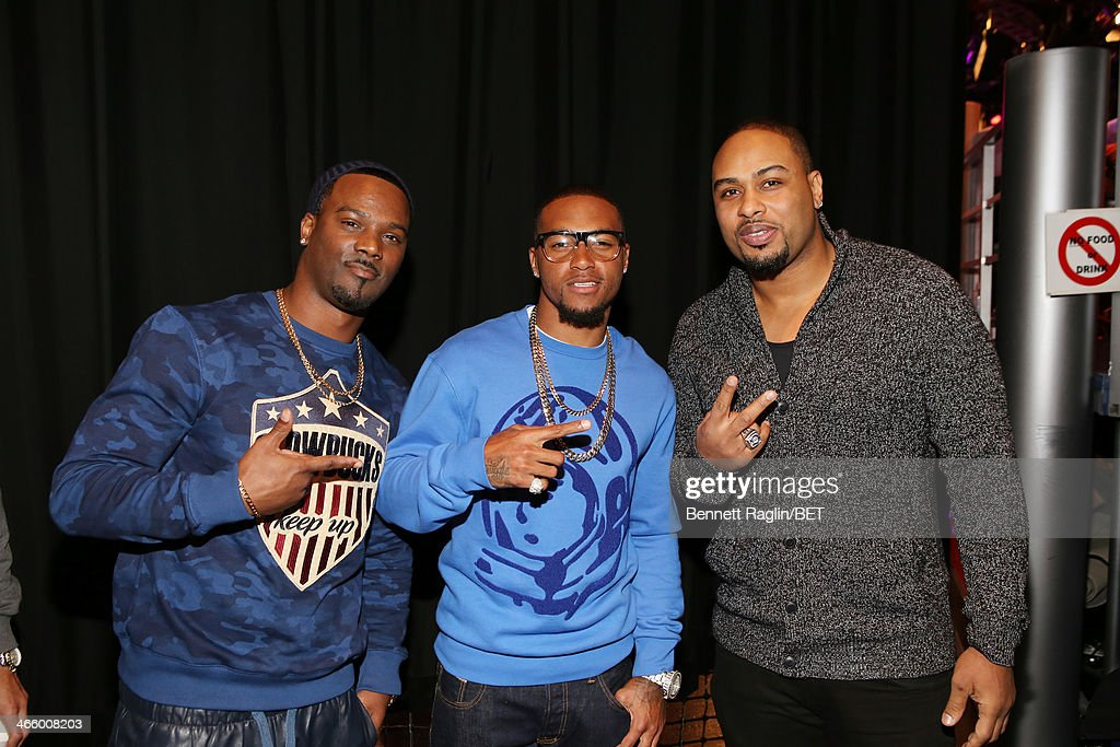 NFL players <a gi-track='captionPersonalityLinkClicked' href=/galleries/search?phrase=Aaron+Ross+-+American+Football+Cornerback&family=editorial&specificpeople=2105852 ng-click='$event.stopPropagation()'>Aaron Ross</a>, <a gi-track='captionPersonalityLinkClicked' href=/galleries/search?phrase=DeSean+Jackson&family=editorial&specificpeople=2212775 ng-click='$event.stopPropagation()'>DeSean Jackson</a>, and <a gi-track='captionPersonalityLinkClicked' href=/galleries/search?phrase=Raheem+Brock&family=editorial&specificpeople=2106099 ng-click='$event.stopPropagation()'>Raheem Brock</a> visit 106 & Park at BET studio on January 30, 2014 in New York City.