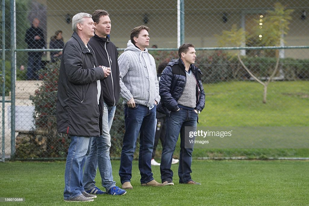 players agent Paul van der Kraan, unknown, unknown, players agent Louis Laros during the match between Heracles Almelo and RSC Anderlecht on January 11, 2013 at Belek, Turkey.