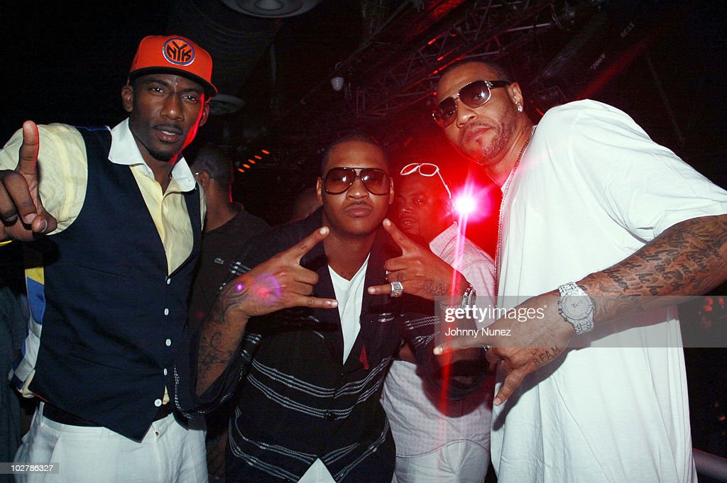 NBA players <a gi-track='captionPersonalityLinkClicked' href=/galleries/search?phrase=Amar%27e+Stoudemire&family=editorial&specificpeople=201492 ng-click='$event.stopPropagation()'>Amar'e Stoudemire</a>, <a gi-track='captionPersonalityLinkClicked' href=/galleries/search?phrase=Carmelo+Anthony&family=editorial&specificpeople=201494 ng-click='$event.stopPropagation()'>Carmelo Anthony</a> and <a gi-track='captionPersonalityLinkClicked' href=/galleries/search?phrase=Kenyon+Martin&family=editorial&specificpeople=201522 ng-click='$event.stopPropagation()'>Kenyon Martin</a> attend La La Vasquez & <a gi-track='captionPersonalityLinkClicked' href=/galleries/search?phrase=Carmelo+Anthony&family=editorial&specificpeople=201494 ng-click='$event.stopPropagation()'>Carmelo Anthony</a>'s pre wedding celebration at Amnesia NYC on July 9, 2010 in New York City.