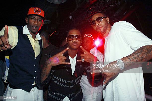 NBA players Amar'e Stoudemire Carmelo Anthony and Kenyon Martin attend La La Vasquez Carmelo Anthony's pre wedding celebration at Amnesia NYC on July...