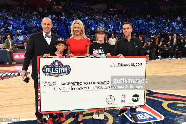 Players and celebrities shoot 3s for the Sager Strong Foundation during State Farm AllStar Saturday Night as part of the 2017 NBA AllStar Weekend on...