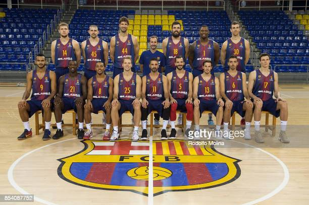 Players and Coach of FC Barcelona Lassa poses during the 2017/2018 Turkish Airlines EuroLeague Media Day at Palau Blaugrana on September 25 2017 in...