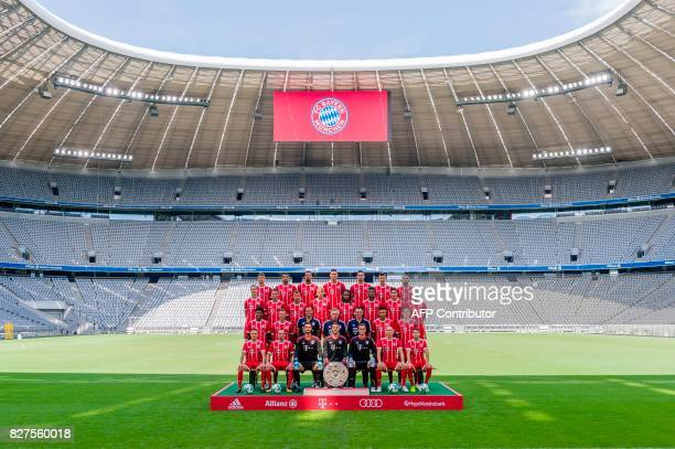 Players and coaches of German first division Bundesliga football club FC Bayern Munich pose for a team photo on August 8 2017 in Munich southern...