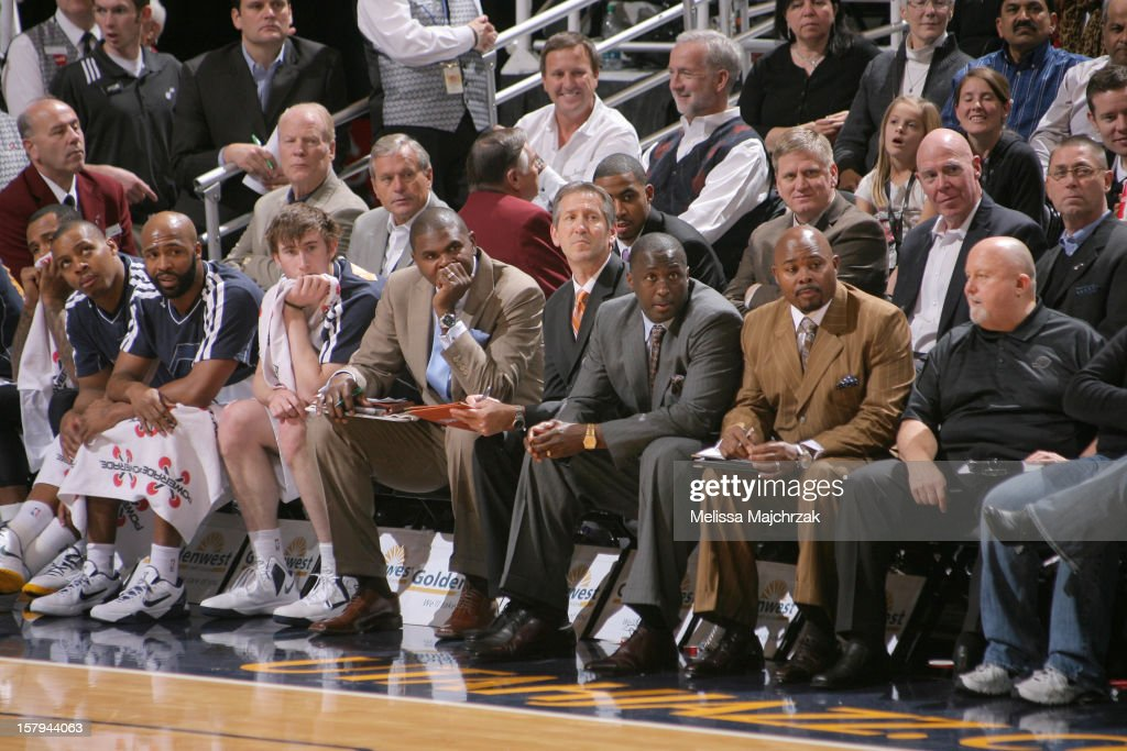 Players and Coaches of the Utah Jazz watch from the bench during the game against the Toronto Raptors at Energy Solutions Arena on December 07, 2012 in Salt Lake City, Utah.