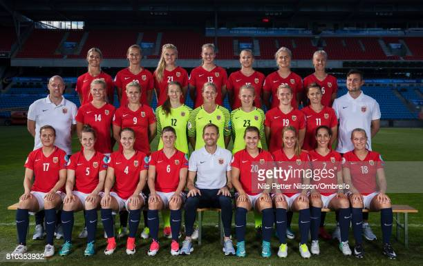 Players and coaches poses for team photo during a Norway FA Photo Shoot on July 5 2017 at Ulleval in Oslo Norway