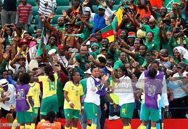 Players and fans from Cameroon celebrate their win during the FIFA Women's World Cup Canada Group C match between Switzerland and Cameroon at...