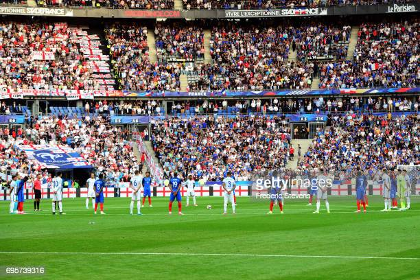 Players and fans respect one minute of silence in honnor of attacks in England before the International Friendly match between France and England at...