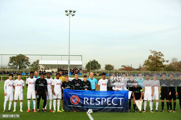 Players and Officials form a team group during the UEFA Youth League group H match between Tottenham Hotspur and Real Madrid at the Tottenham Hotspur...