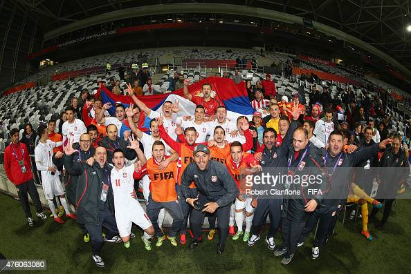 Players and officials from Serbia celebrate after defeating Mexico during the FIFA U20 World Cup New Zealand 2015 Group D match between Serbia and...