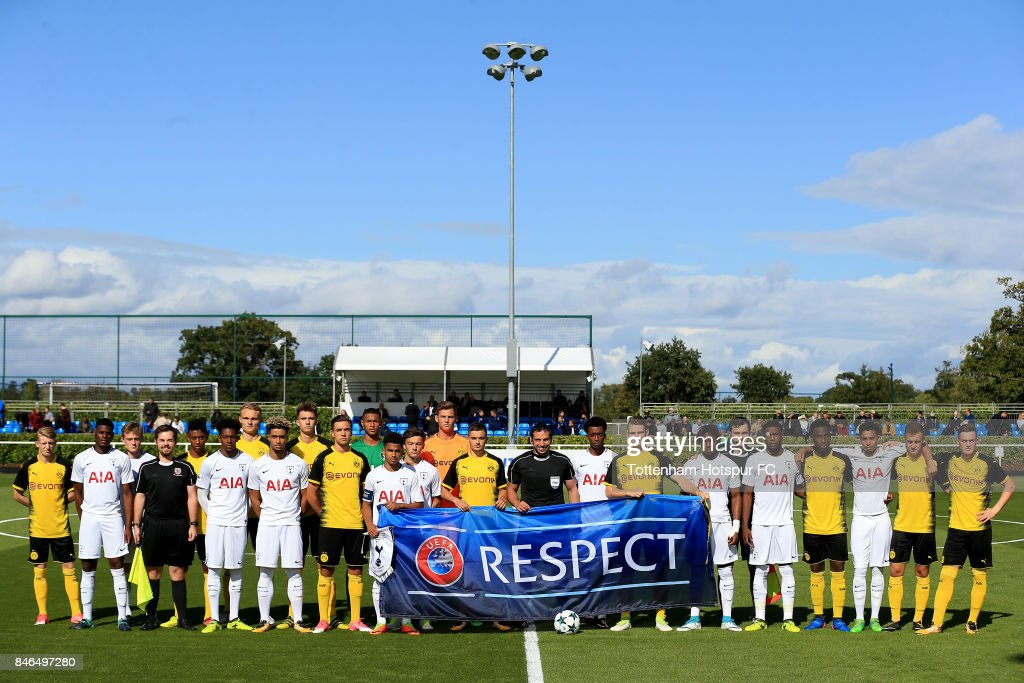 Players and officials line up during the UEFA Youth Champions League group H match between Tottenham Hotspur and Borussia Dortmund on September 13, 2017 in Enfield, United Kingdom.