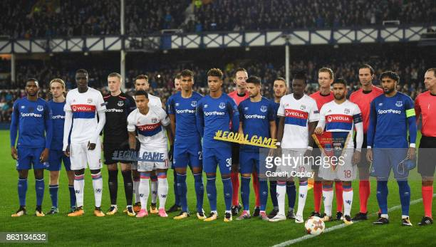 Players and officials line up with the #equalgame banner prior to the UEFA Europa League Group E match between Everton FC and Olympique Lyon at...