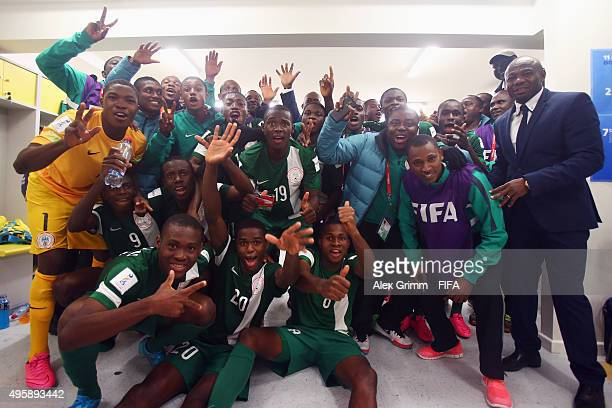 Players and officials of Nigeria celebrate in the dressing room after the FIFA U17 World Cup Chile 2015 Semi Final match between Mexico and Nigeria...