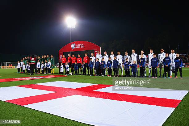 Players and offiicals line up prior to the UEFA EURO 2016 qualifying Group E match between Lithuania and England at LFF Stadionas on October 12 2015...
