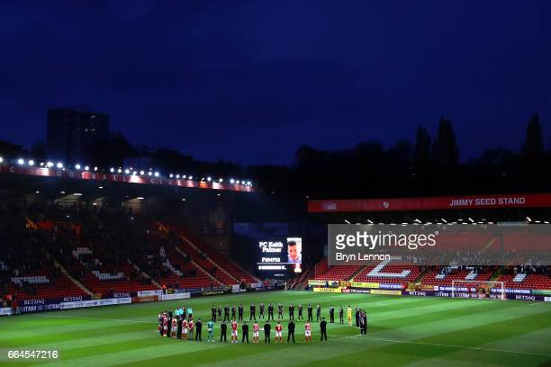 Players and policeman stand for a minute silence in tribute to PC Keith Palmer prior to the Sky Bet League One match between Charlton Athletic and...