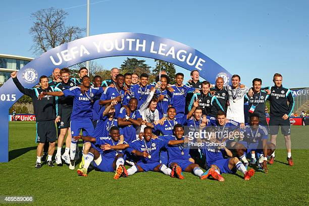 Players and staff of Chelsea FC pose for a photo with the Lennart Johansson trophy after the UEFA Youth League Final match between Shakhtar Donetsk...