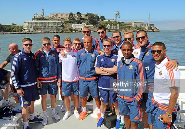 Players and staff of Sunderland AFC during a boat tour of San Francisco Bay on day 4 of a preseason tour of the USA and Canada on July 15 2015 in San...
