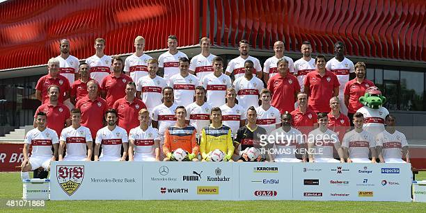 Players and team members of the German first division Bundesliga football team VfB Stuttgart pose during the team presentation in Stuttgart...