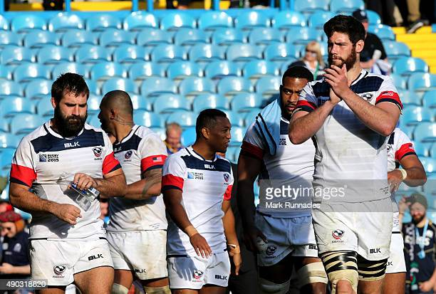USA players applaud the support from the crowd at the final whistle during the 2015 Rugby World Cup Pool B match between Scotland and USA at Elland...