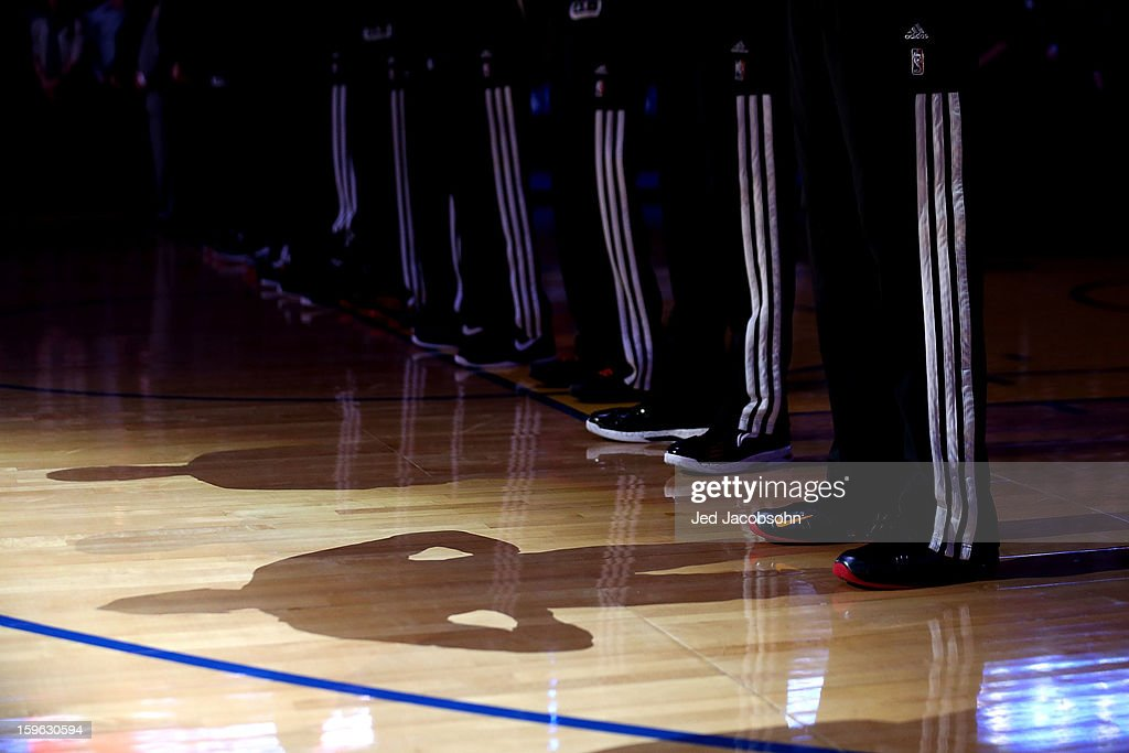 Players are introduced before the Miami Heat and the Golden State Warriors NBA game on January 16, 2013 at Oracle Arena in Oakland, California.