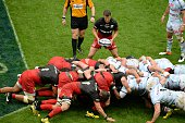 Players are pictured during a scrum during the European Rugby Champions Cup match beetween Racing Metro 92 and Saracens FC at the Parc Olympique...