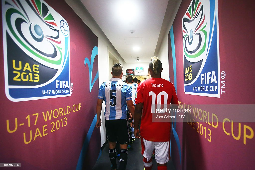 Players are ready to enter the pitch for the FIFA U-17 World Cup UAE 2013 Group E match between Argentina and Austria at Al Rashid Stadium on October 22, 2013 in Dubai, United Arab Emirates.