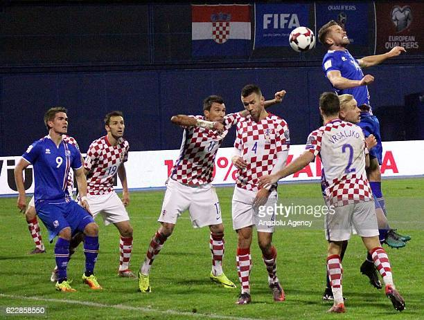 Players are seen during the FIFA 2018 World Cup Qualifier Group I match between Croatia and Iceland at Maksimir Stadium in Zagreb Croatia on November...