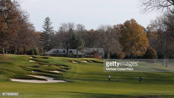 Players are seen on the 14th hole during Curtis Cup practice at Quaker Ridge GC on November 22 2017 in Scarsdale New York