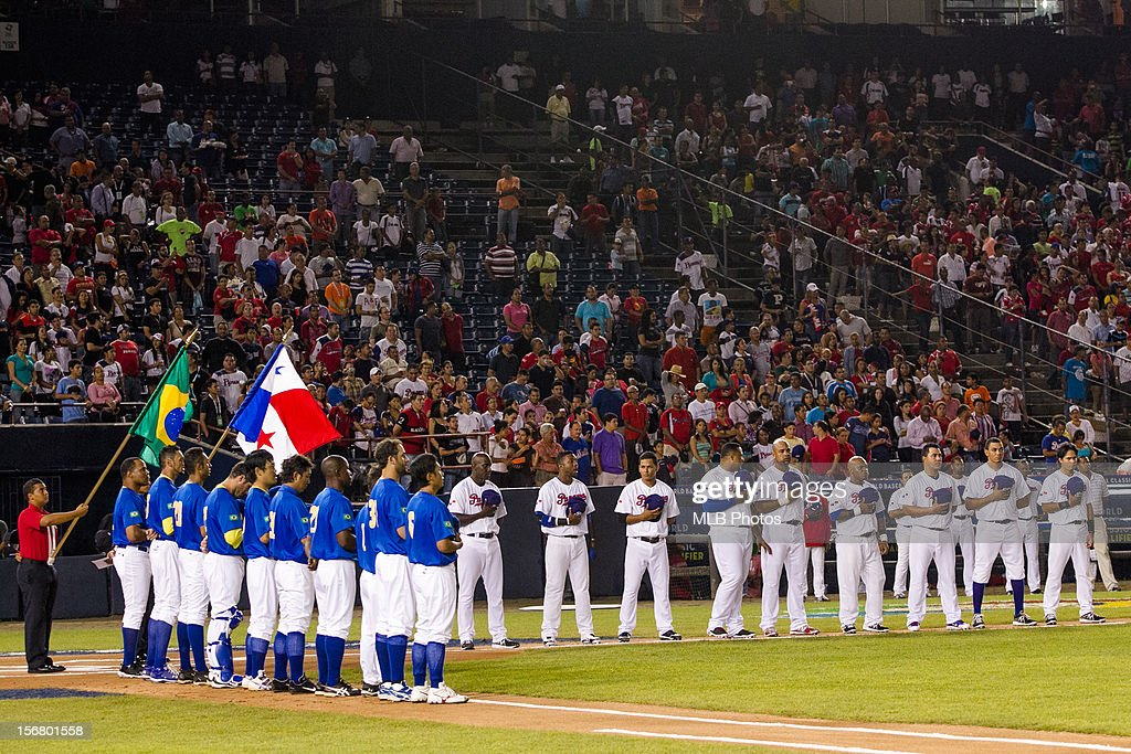 Players are seen on the base paths during the playing of the national anthems before Game 6 of the Qualifying Round of the World Baseball Classic between Team Panama and Team Brazil on Monday, November 19, 2012 in Panama City, Panama.