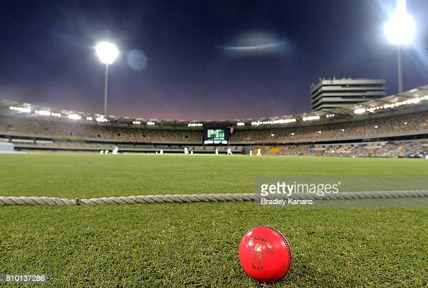 Players are seen playing under lights in day night cricket with a pink ball for the first time in Sheffield Shield history during day one of the...