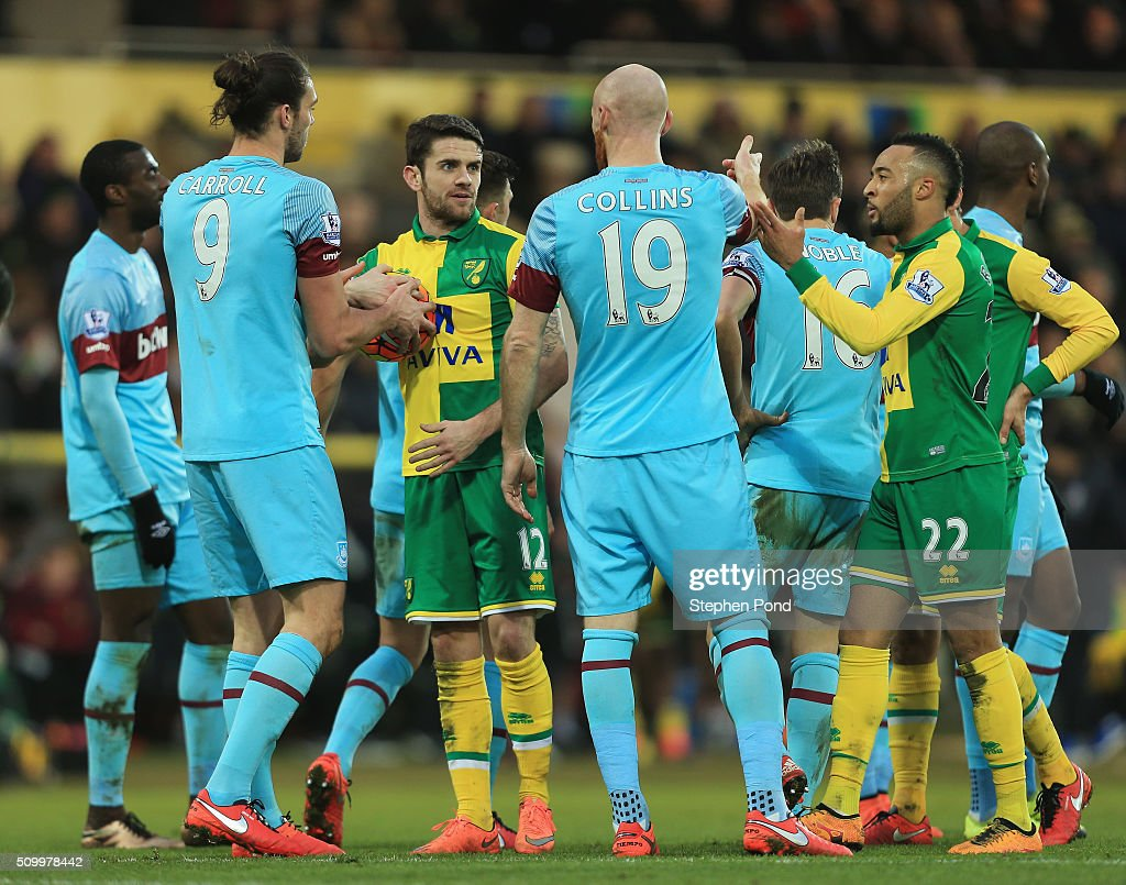 Players argue during the Barclays Premier League match between Norwich City and West Ham United at Carrow Road on February 13, 2016 in Norwich, England.