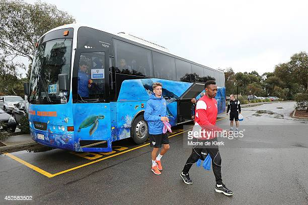 Players arrive at SANTOS stadium before a Malaga CF training session at Santos Stadium on July 24 2014 in Adelaide Australia