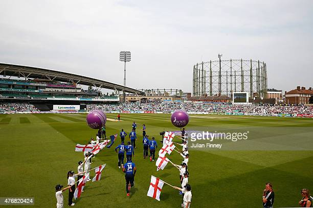 Players arrive during the 2nd ODI Royal London OneDay Series 2015 at The Kia Oval on June 12 2015 in London England
