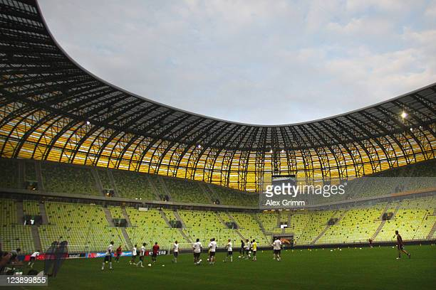 Players attend a Germany training session ahead of their friendly match against Poland at Baltic Arena on September 5 2011 in Gdansk Poland