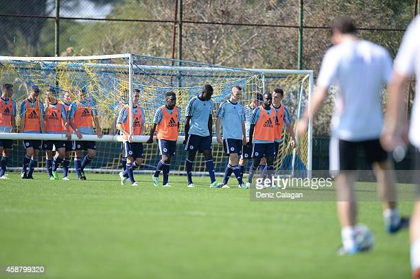 Players attend a training session of the U18 team of Germany on November 11 2014 in Belek Turkey
