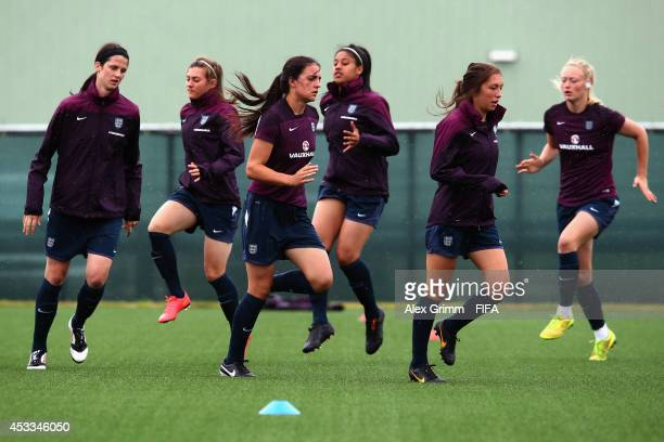 Players attend an England training session on August 8 2014 in Moncton Canada