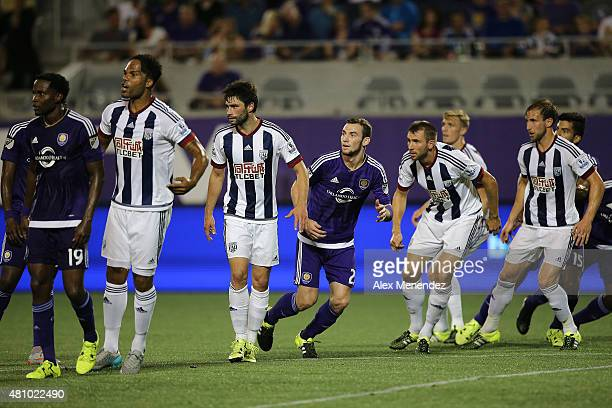 Players await a corner kick during an International friendly soccer match between West Bromwich Albion and the Orlando City SC at the Orlando Citrus...
